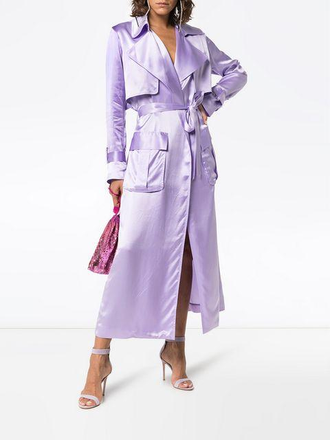 7d4a8dee3df Michael Lo Sordo Belted Silk-Satin Trench Coat In Pink | ModeSens
