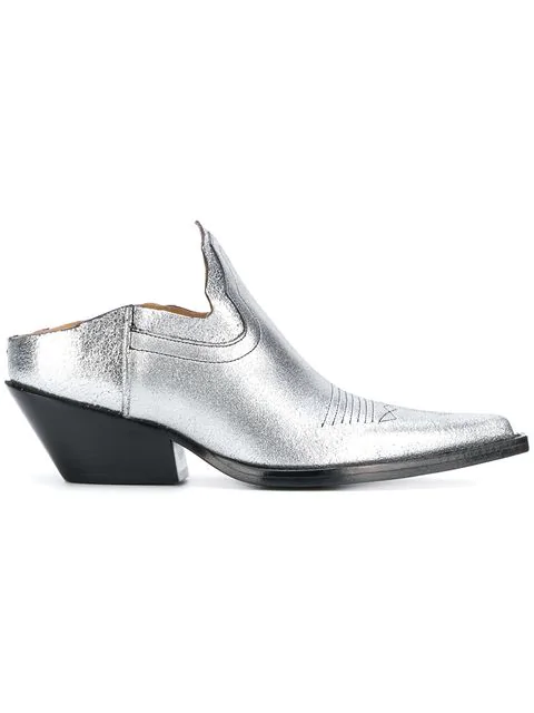 9c10a9e4ab9 Cutout Leather Ankle Boots in Grey
