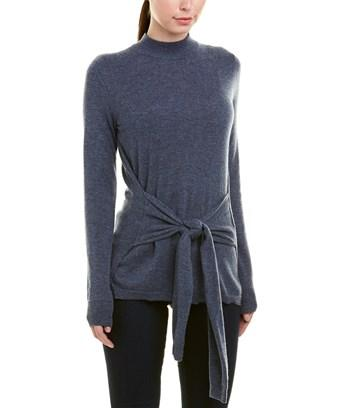 Autumn Cashmere Tie front Cashmere Sweater In Blue