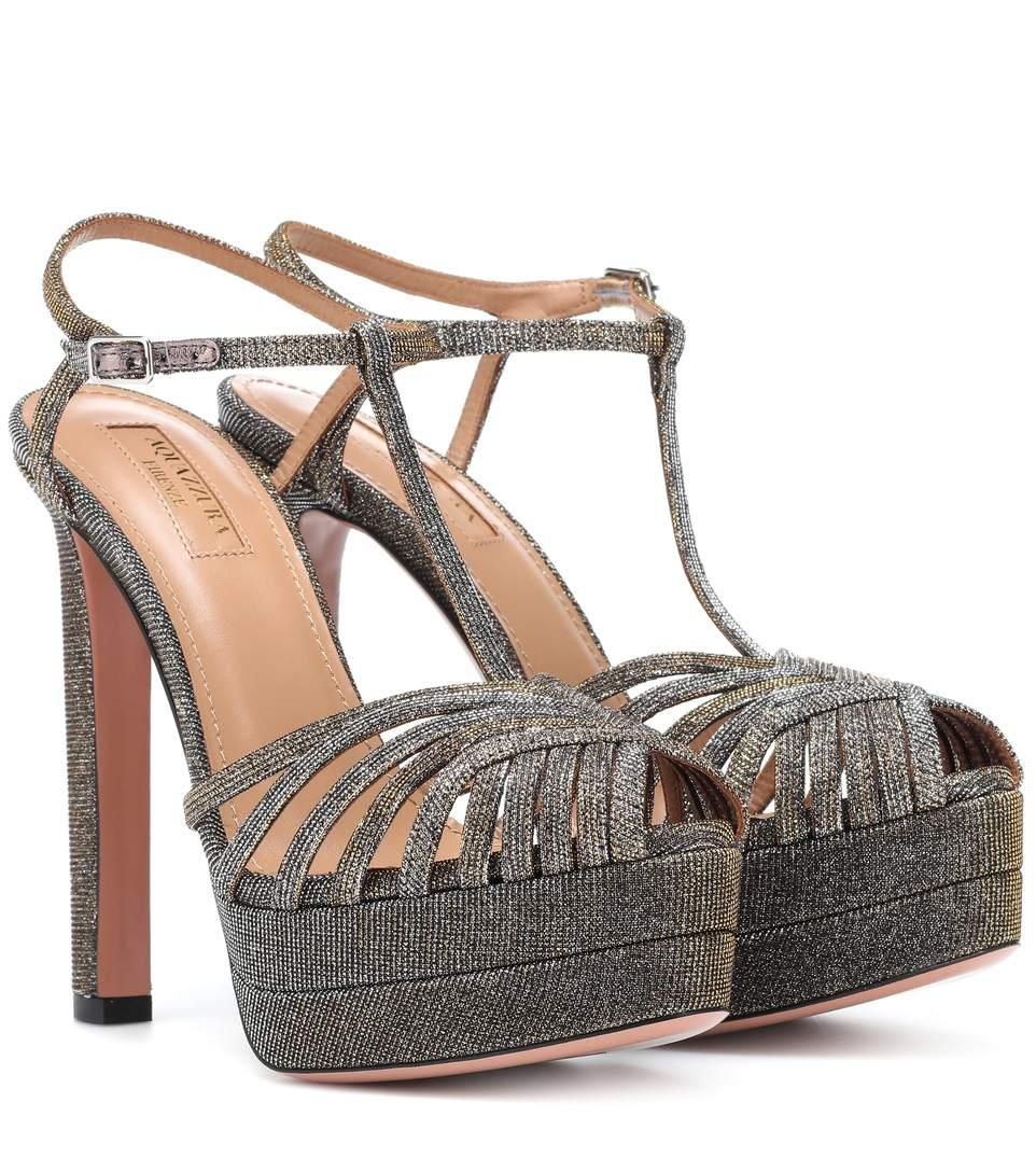 e768b20bdad Aquazzura Moonlight Metallic Fabric Platform T-Strap Sandals In Silver