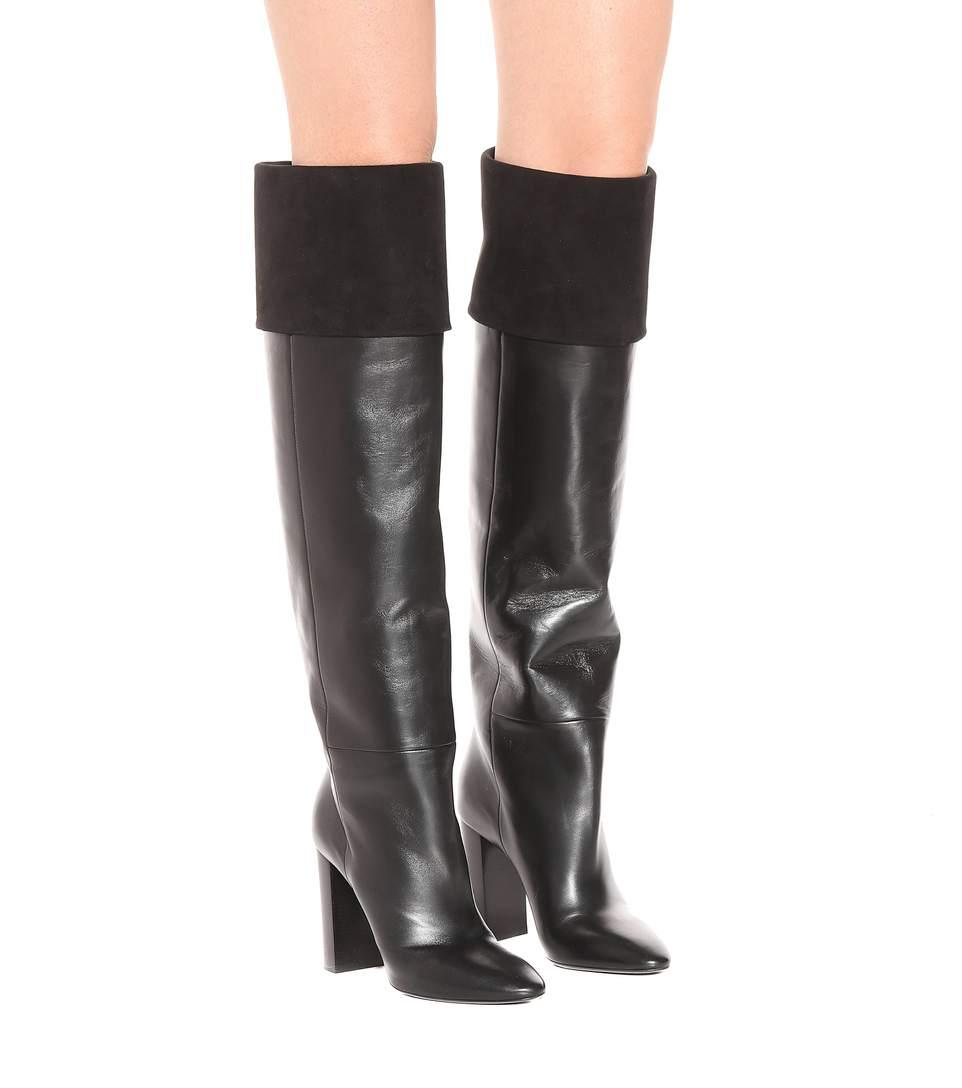 70b4ffd83f0 Saint Laurent Lou 95 Leather And Suede Boots In Black | ModeSens