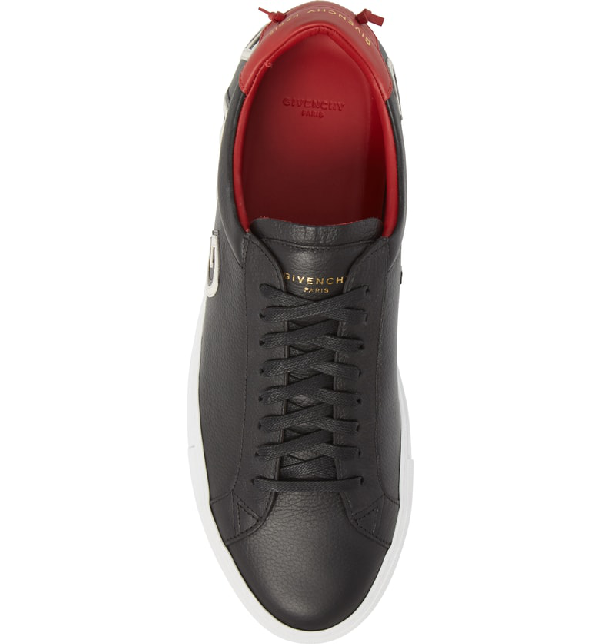Givenchy Black, White And Red Urban Street Logo Leather Sneakers