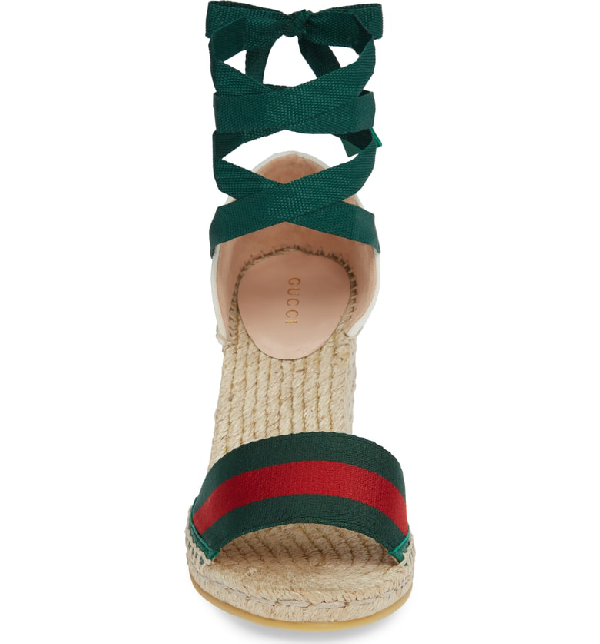1a06f7babae5 Gucci Lilibeth Striped Grosgrain And Canvas Wedge Espadrilles In Emerald