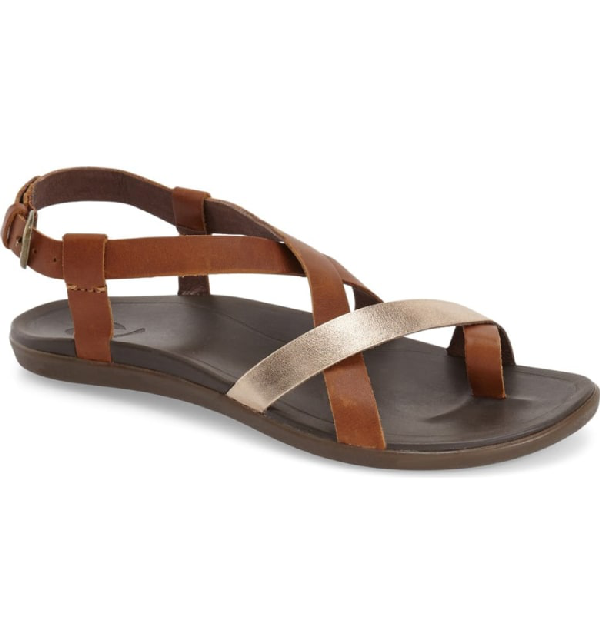 2f4728241b3 Olukai  Upena  Flat Sandal In Gold Leather