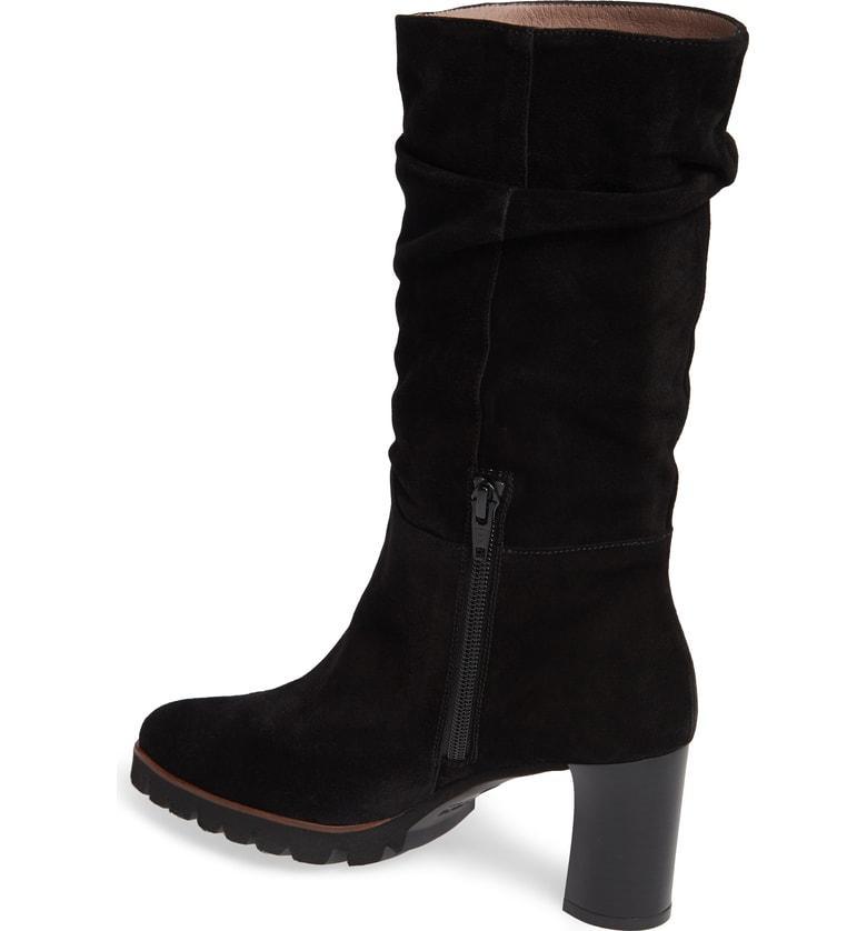 83b312813eea Wonders Slouchy Block Heel Boot In Black Suede