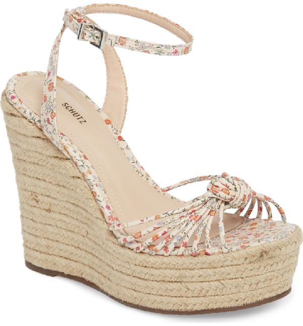 8dd075216b5 Schutz Women s Gianne Floral Leather Espadrille Platform Wedge Sandals In  Beige