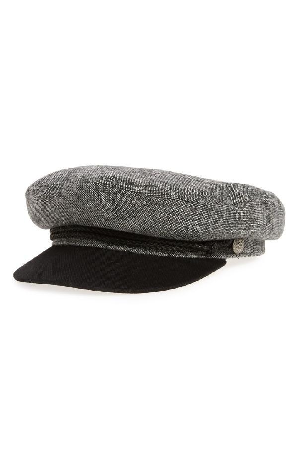 2de8449b45 Brixton Fiddler Cap - Black In Black  White Tweed