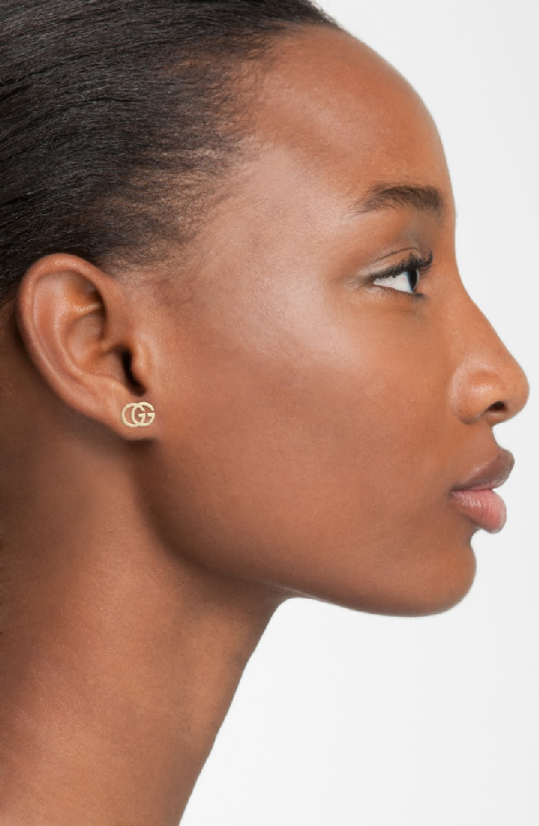 a1f6fb2421ae Gucci Gg 18Ct Yellow-Gold Tissue Stud Earrings In Platinum