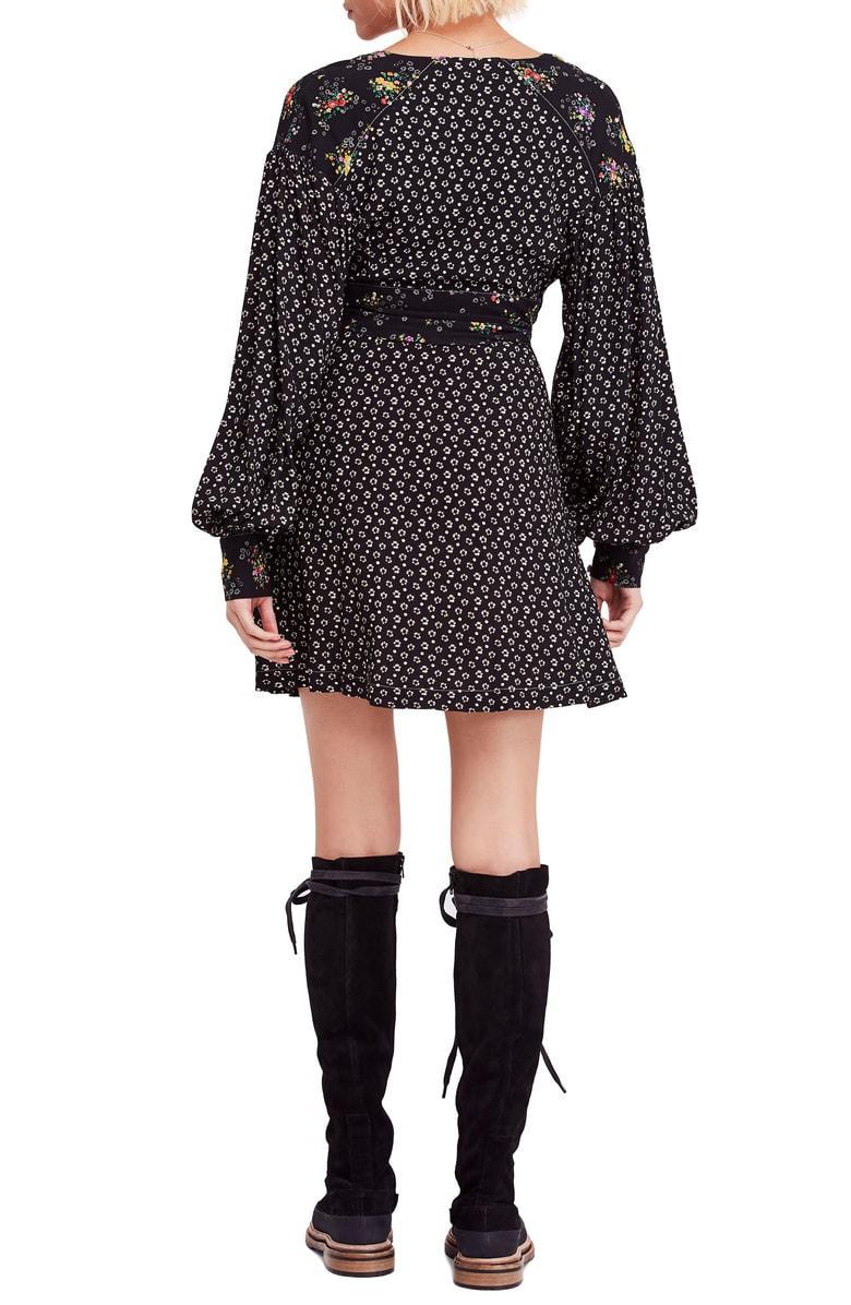 Free PeopleWonderland Printed A-Line Mini DressBlackM