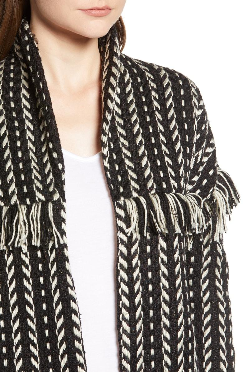 cupcakes and cashmere Womens Genisis Textured Jacket W//Fringe