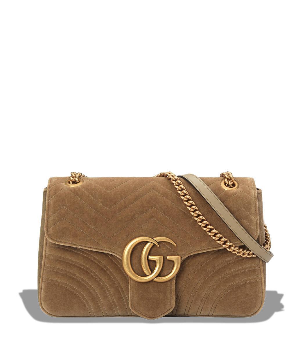 e6a9cc24b7c1 Gucci Medium Gg Marmont 2.0 Matelasse Velvet Shoulder Bag - Brown In 2807  Beige