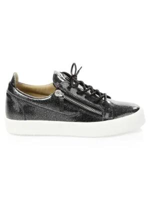 b0c926897ec75 Giuseppe Zanotti Glitter Patent Leather Sneakers In Anthracite ...