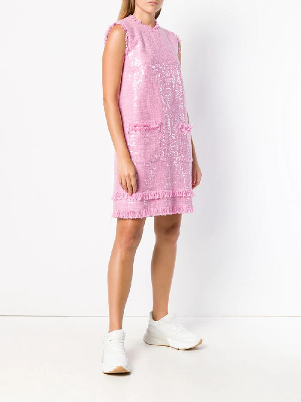 05cde0d1 Msgm Sequin-Embellished Cotton-Blend Tweed Mini Dress In Pink | ModeSens