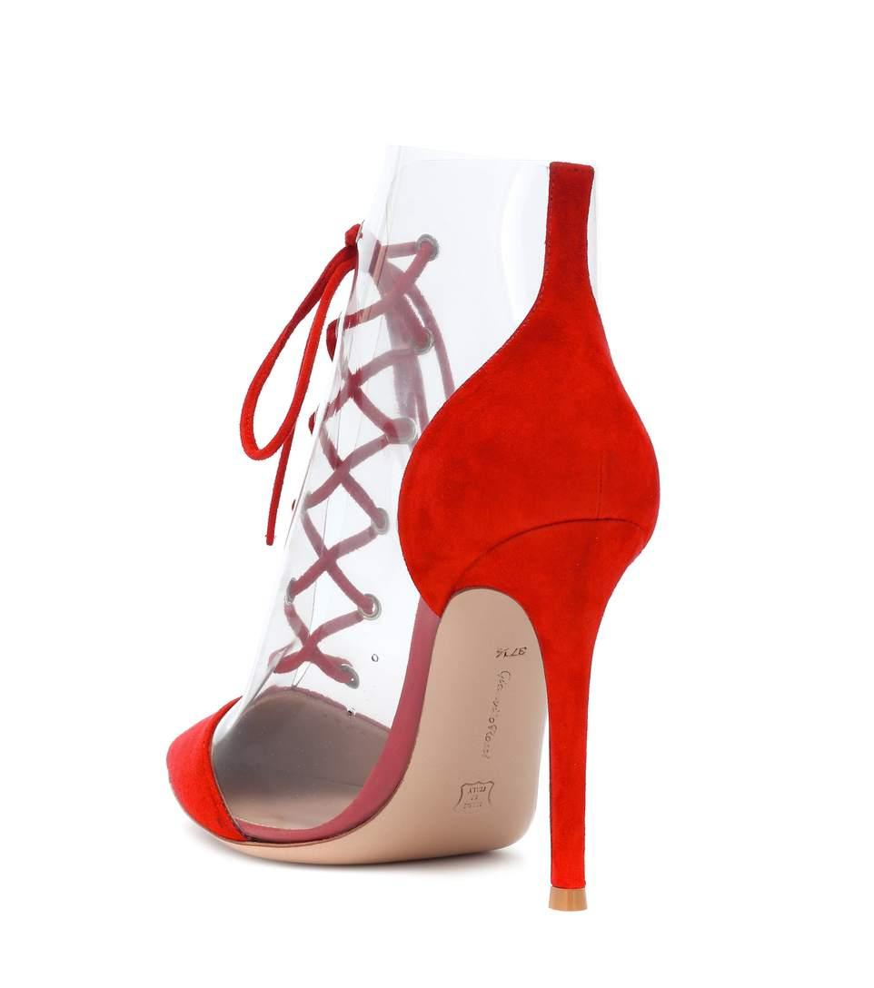 710ebe3c04e Gianvito Rossi Exclusive To Mytheresa - Icon 105 Suede And Plexi Pumps In  Red