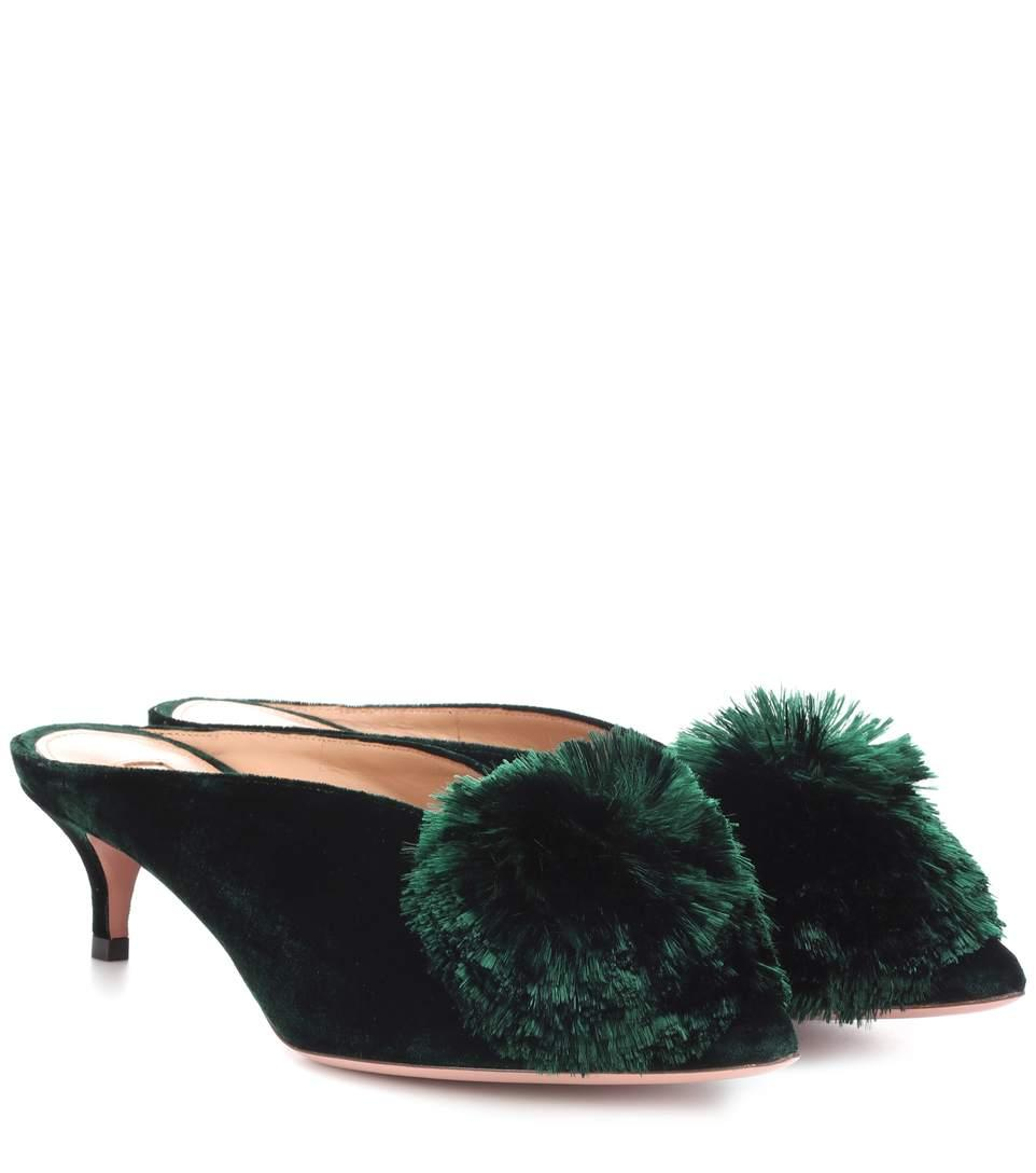 dfc841243f0 Aquazzura Powder Puff 45 Pompom-Embellished Velvet Mules In Dark Green
