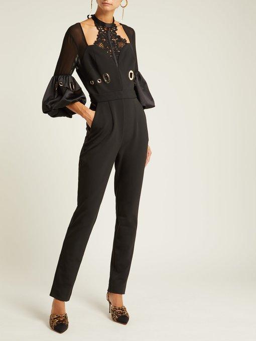 16501b242a Self-Portrait Lace-Detail Crepe Jumpsuit In Black