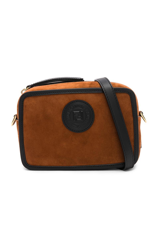 4f6147cfb88c Fendi Mini Suede Logo Emblem Camera Case In Brown   Black
