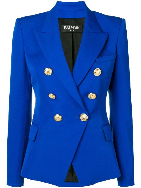 fd557f9c Balmain Wool Long Double-Breasted Blazer - Blue | ModeSens