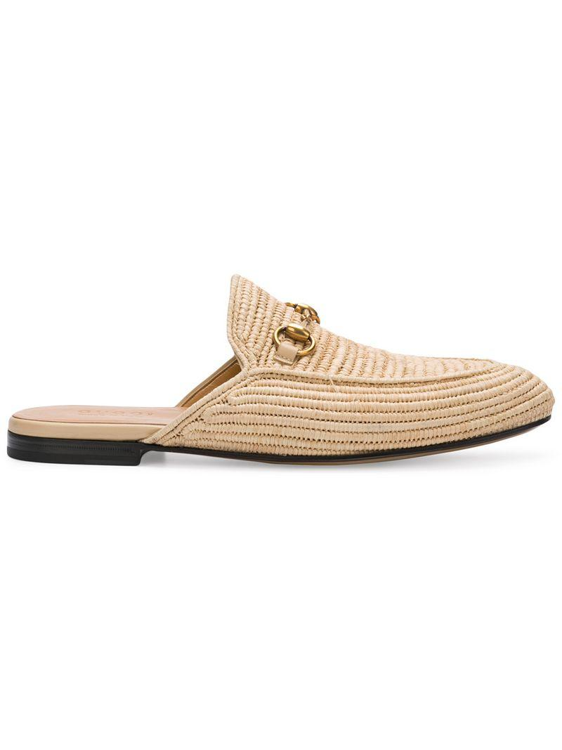 ea9a4b2a2ad Gucci King Woven-Straw Backless Loafers In Neutrals