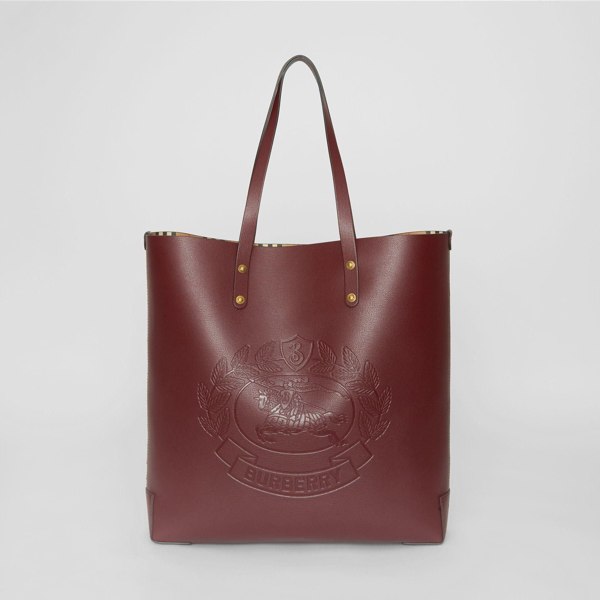 53681325a5f7 Burberry Large Embossed Crest Leather Tote In Burgundy
