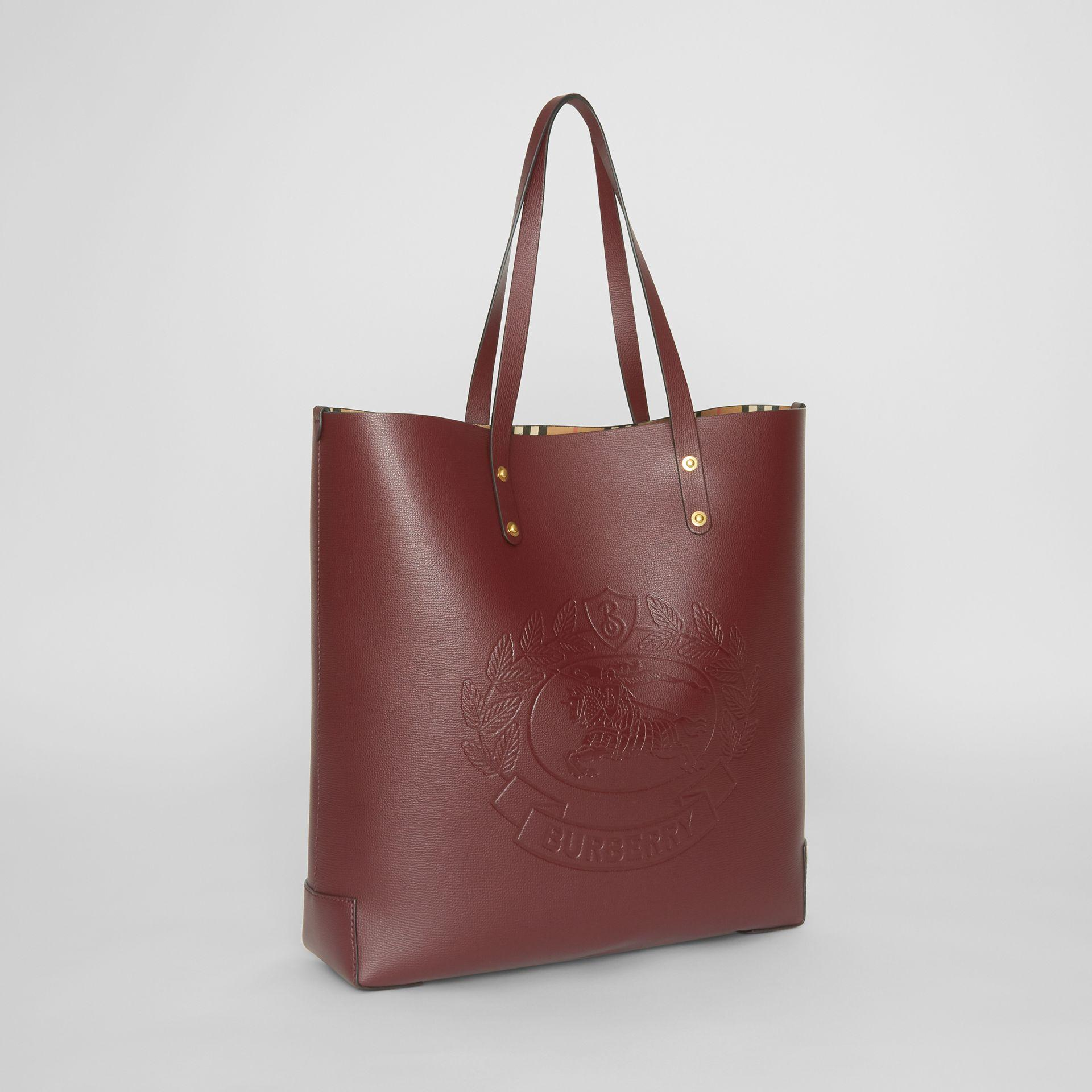 6d4eb7d50 Burberry Large Embossed Crest Leather Tote In Burgundy | ModeSens