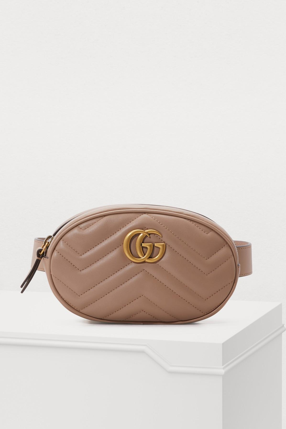 cadfae435f71 Gucci Gg Marmont MatelassÉ Leather Belt Bag In Dusty Pink Chevron Leather
