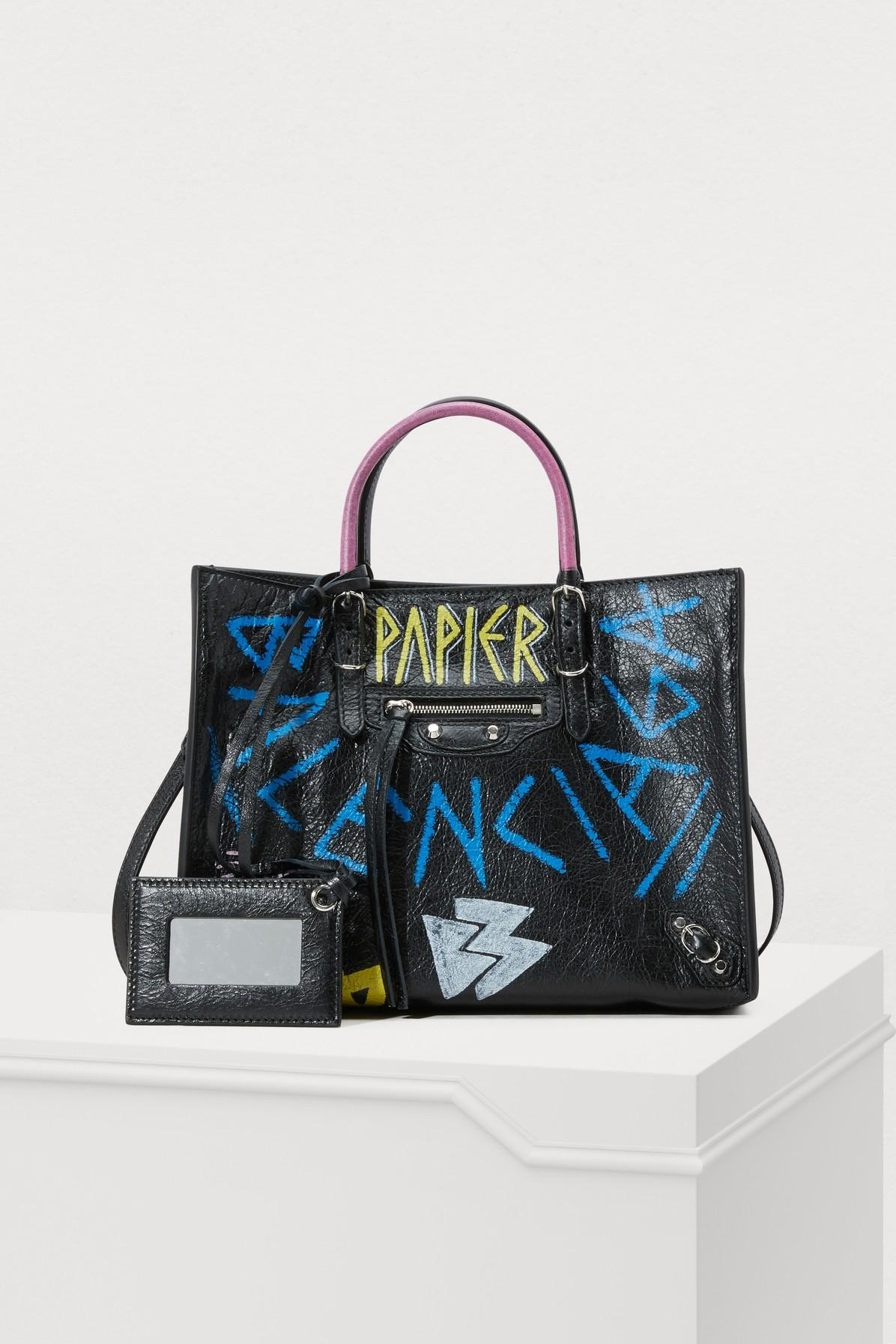 97c1d2e3ee6e Balenciaga Papier A6 Zip Around Graffiti Tote Bag In Black Multi ...