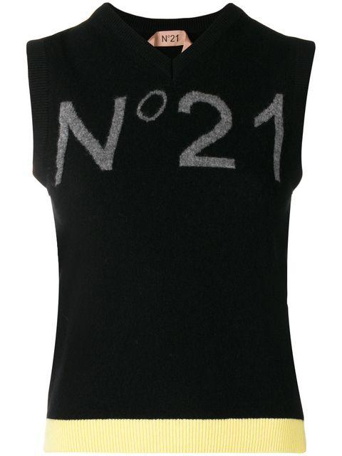 N°21 Nº21 LOGO SWEATER VEST - BLACK