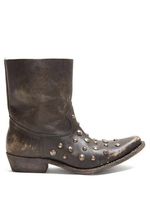 06ee5c82 Tribute Studded Leather Ankle Boots in Black