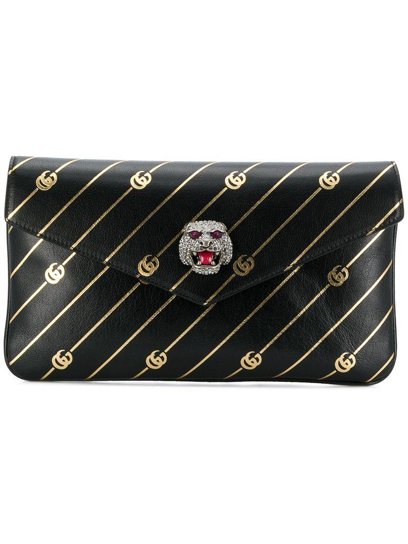 2287a23efd9072 Gucci Broadway Gg Archive-P Leather Envelope Clutch - Black | ModeSens