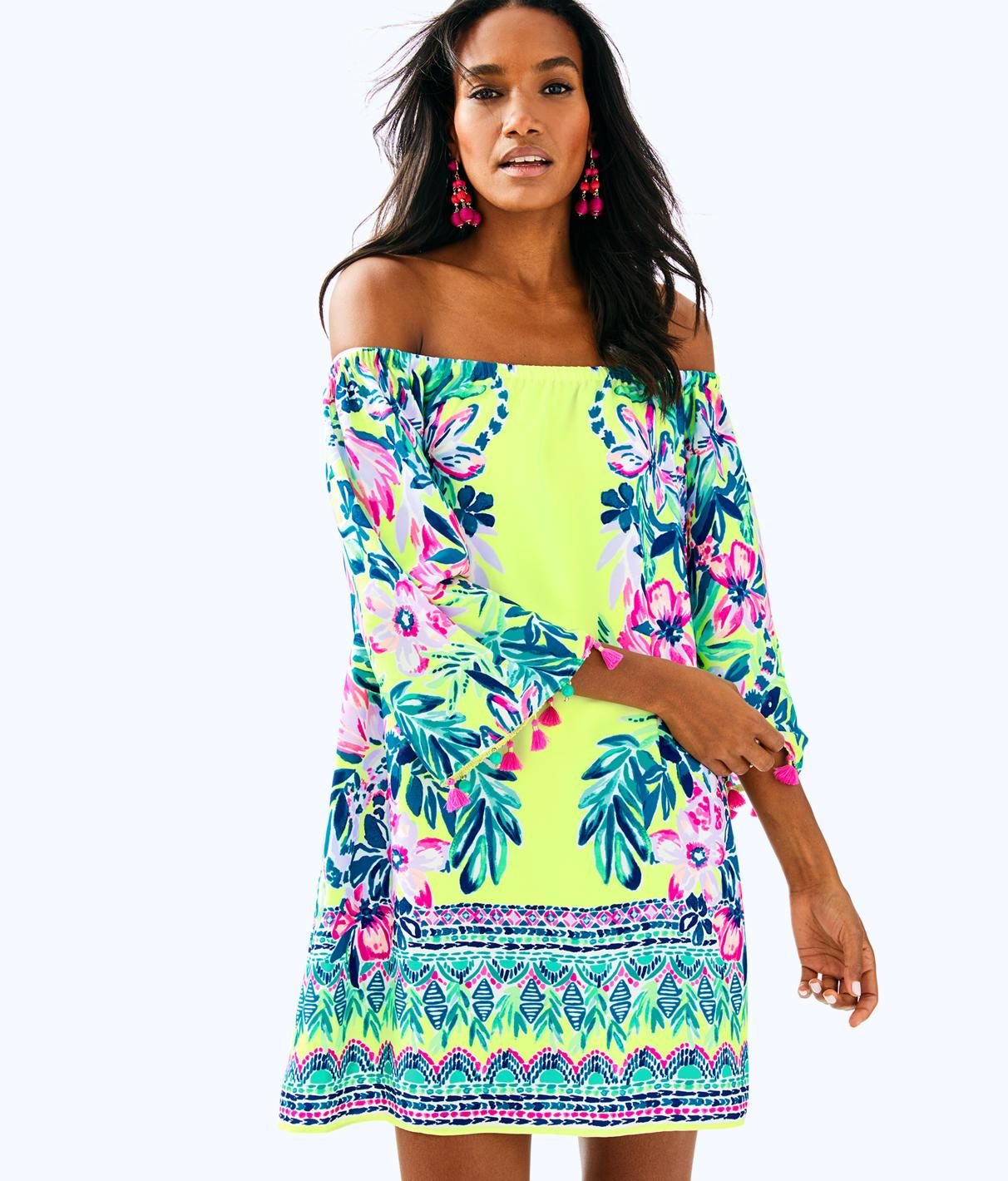 123eeaf3de0256 Lilly Pulitzer Payge Off The Shoulder Dress In Bauble Yellow Lemur Alone  Engineered Woven Dress