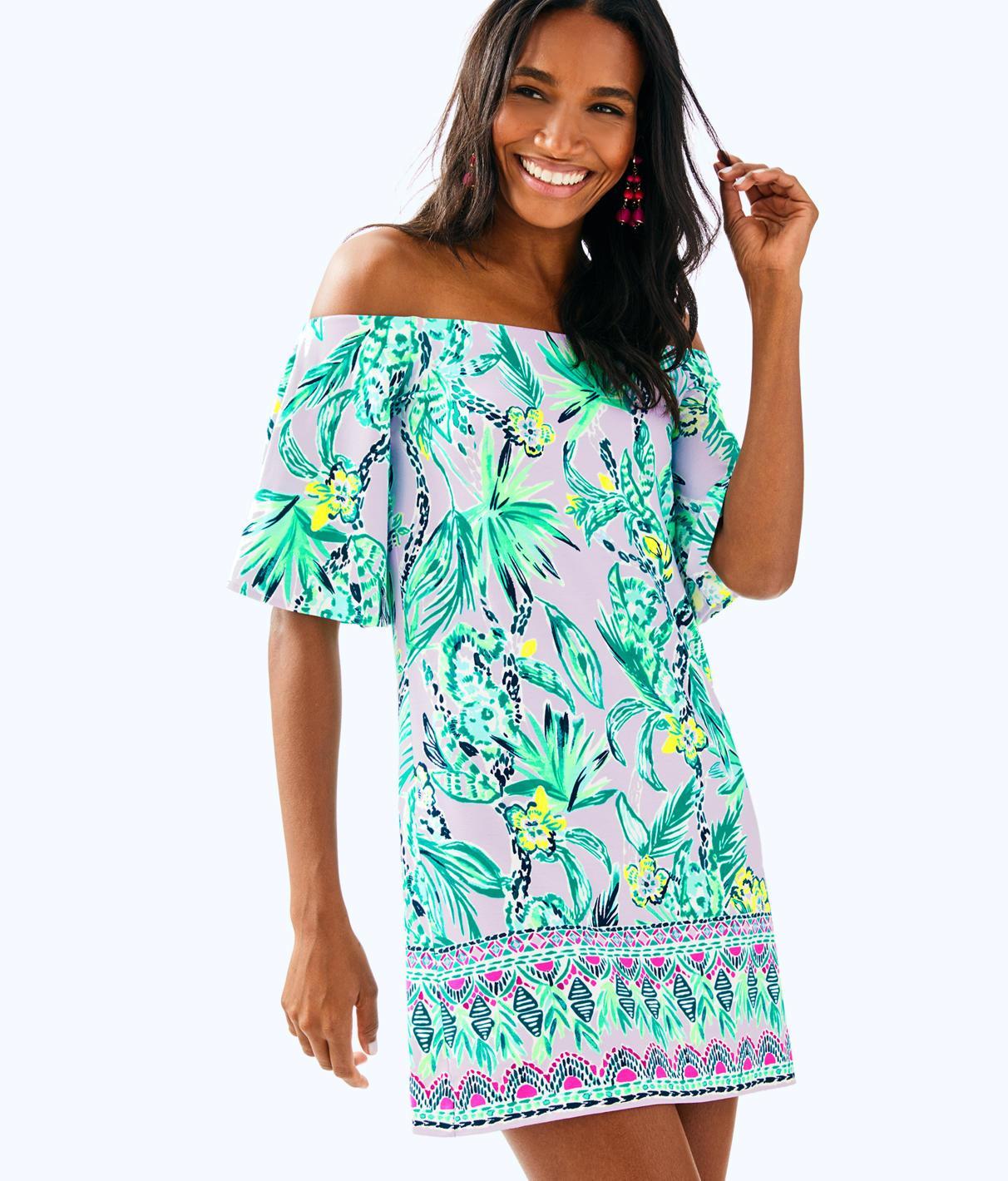 573231dda56b9d Lilly Pulitzer Fawcett Off The Shoulder Dress In Light Lilac Verbena Its  Impawsible Eng Knit Dress