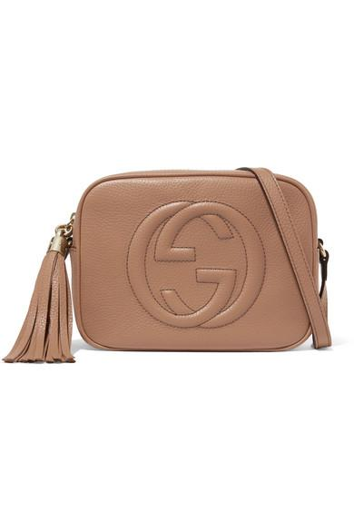 10b8446c1a9 Gucci Soho Disco Textured-Leather Shoulder Bag In Sand