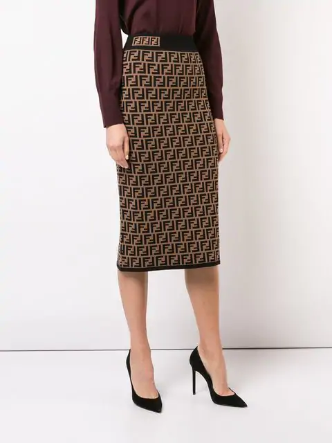 0aedd399a8f7ce Fendi Monogram Midi Skirt - Brown | ModeSens