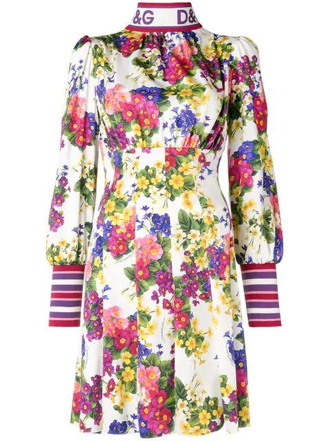 3cdaabc0f9e Dolce   Gabbana Mock-Neck Zip-Front Long-Sleeve Floral-Print Jersey ...