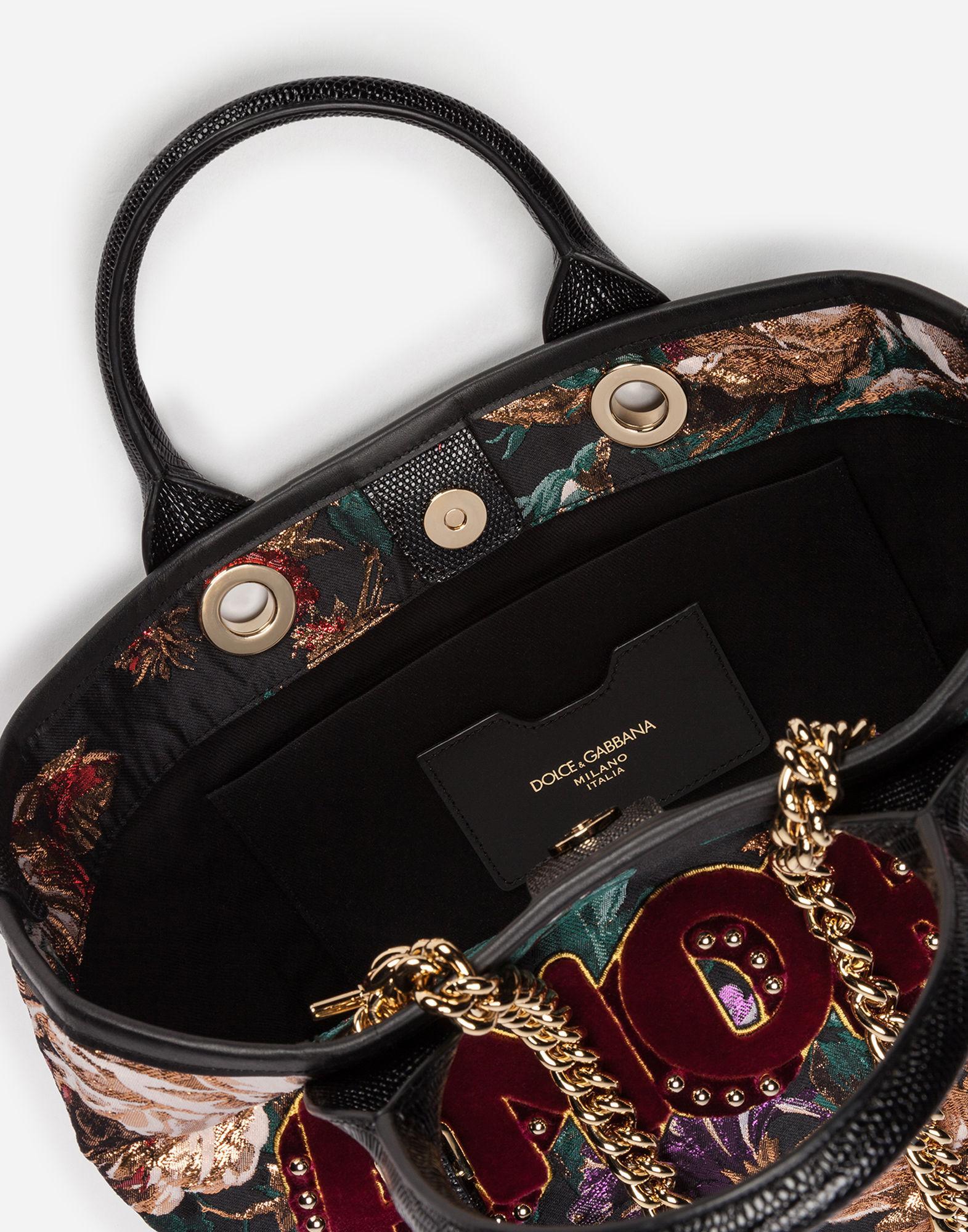 f83e2f854f Dolce   Gabbana Capri Shopping In Lurex Jacquard And Iguana Print Calfskin  Trim In Multicolor