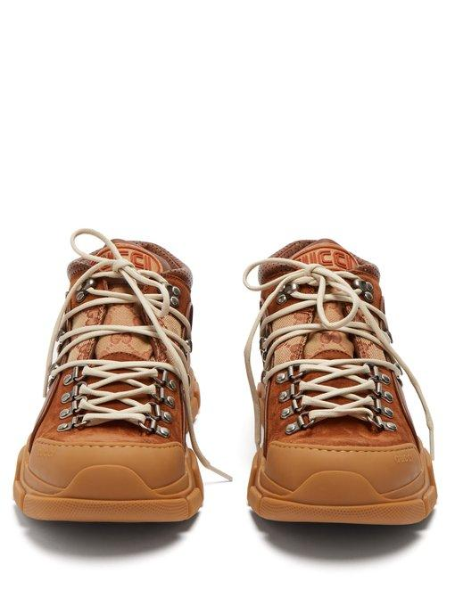 Gucci Journey Trek Leather And Canvas Trainers In Brown