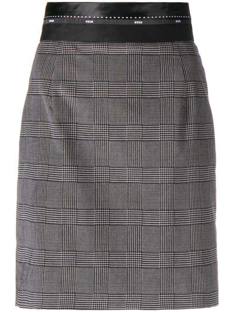 4459a78f3774 Msgm Tartan Fitted Skirt - Grey | ModeSens