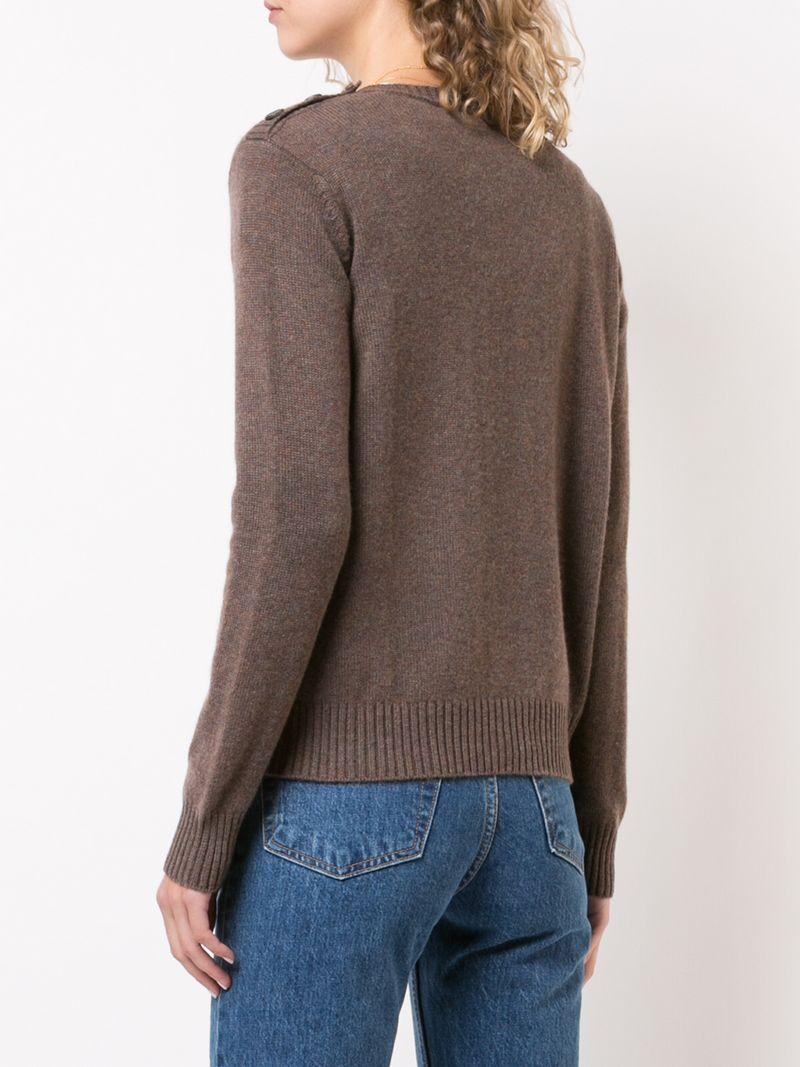 149e70bce8c2c9 Alexandra Golovanoff Buttoned Shoulder Knitted Jumper - Brown