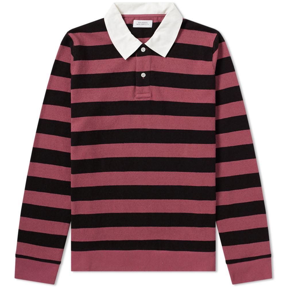 f7b393eb0e1f Saturdays Surf Nyc Saturdays Nyc Sanders Stripe Rugby Shirt In Burgundy