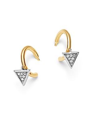 8f1bf16e3 Adina Reyter 14K Yellow Gold & Sterling Silver Pave Diamond Tiny Triangle  Charm Huggie Hoop Earrings