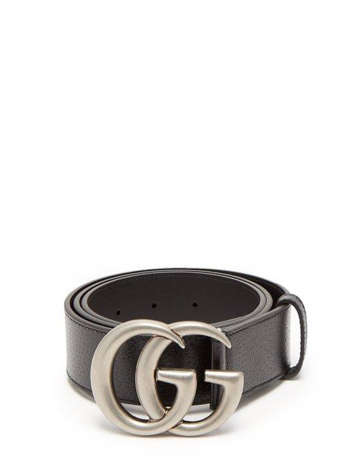 073072c184f Gucci Men s Leather Belt With Silvertone Double-G Buckle In Black ...