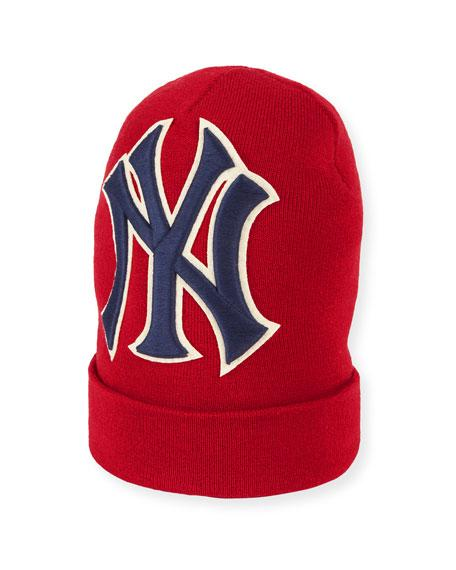 3788c3d91 Men's New York Yankees Mlb Patch Beanie Hat in 6500 Rosso