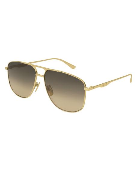 7de374a121e Gucci 80S Monocolor 60Mm Aviator Sunglasses - Gold