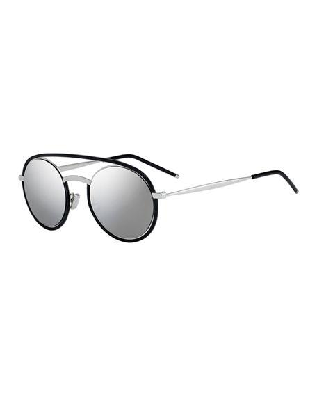 bdae92b720bb5 Dior Men s Synte Round Metal Sunglasses With Double Bridge In Black Metallic