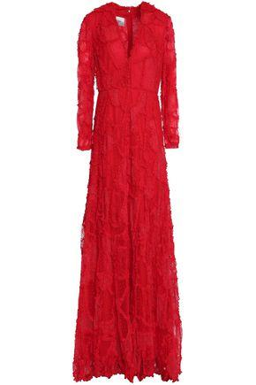 VALENTINO VALENTINO WOMAN RUFFLE-TRIMMED LACE GOWN RED,3074457345619124304