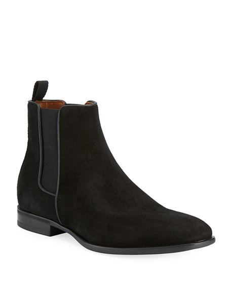 52031e6696cd Photo: BERGDORF GOODMAN. Aquatalia Men's Adrian Weatherproof Suede Chelsea  Boots In Black Suede