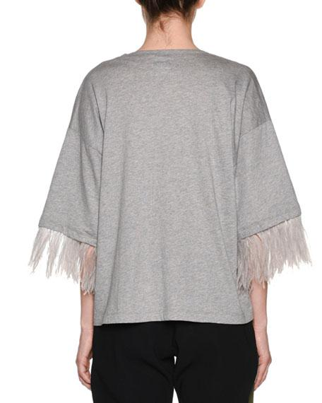 N°21 FEATHER-SLEEVE OVERSIZED CREWNECK TEE,PROD141100077