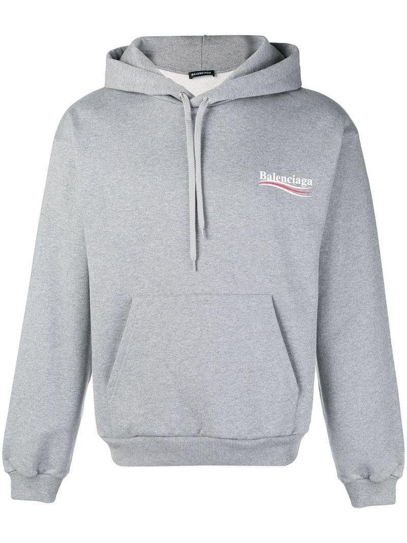 üppiges Design Geschäft süß billig Balenciaga Kapuzenpullover Mit Logo - Grau in Grey