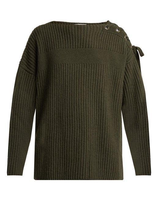 618ae0d7243 Stella Mccartney - Lace Up Shoulder Cashmere Blend Sweater - Womens - Khaki